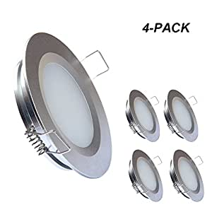 acegoo RV Boat Recessed Ceiling Light 4 Pack Super Slim LED Panel Light DC 12V 3W Full Aluminum Downlights, Cool White (Silver)