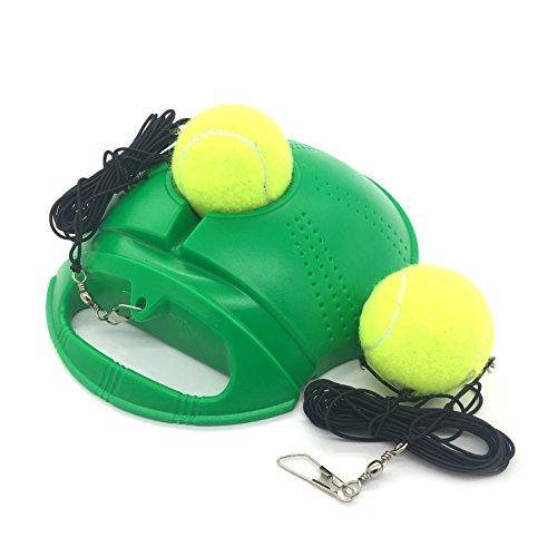 Linkin Sport Tennis Trainer Rebound Baseboard Self Tennis Training Tool Ball Back Training Gear with 2 String Balls (Green-2 Balls)