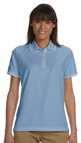 Devon & Jones Ladies Pima Piqué Short-Sleeve Tipped Polo, L, SLATE BLUE/WHITE