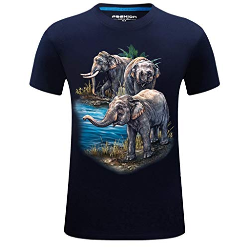 (Short Sleeve Shirts for Men, MmNote Fierce Nature Elephant Walking Print Elastic Antibacterial PremiumT-Shirt Dark Blue)