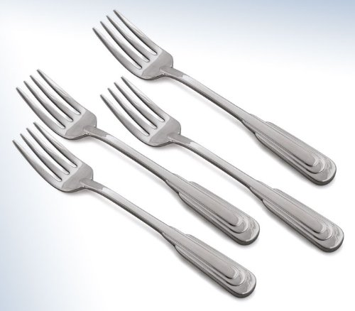 Set of 4 - Oneida Flatware Cityscape 18/10 Stainless Steel Salad Fork