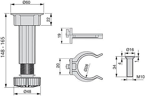 H 150mm Pack de 4 pies Negros con Accesorios de Montaje Patas Regulables para Muebles de Cocina o ba/ño EMUCA Lote de 10 Juegos