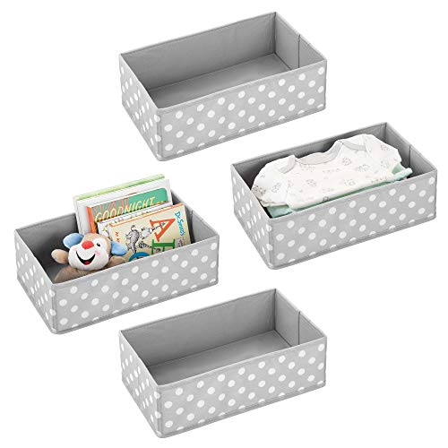 mDesign Soft Fabric Dresser Drawer and Closet Storage Organizer for Child/Kids Room or Nursery - Roomy Open Rectangular Compartment Organizer - Fun Polka Dot Print, 4 Pack - Light Gray/White