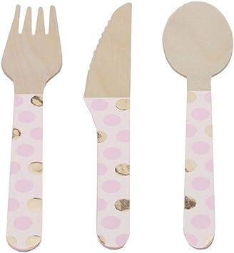 Neviti Pattern Works Wooden Cutlery-Pink Dots-24 Pack Cubiertos de madera, color rosa, 16.4 x 2 x 0.3 (775622): Amazon.es: Juguetes y juegos