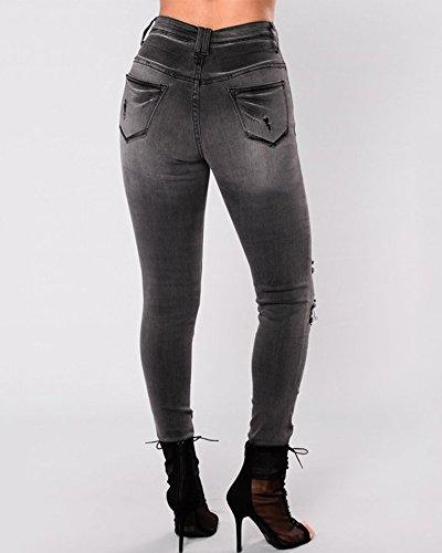 Skinny Vita Nero Lunghi Elastico Matita Jeans Donna Denim Pantaloni Strappati Alta Leggings Pantalone OqfXaw