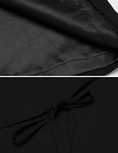 Beyove Femmes Creusent Tunique Manches En Dentelle Robe En Mousseline De Soie Noire Noir