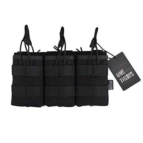 G36 Mag Pouch - OneTigris Open-Top Triple Mag Pouch DD07 for M4 M14 M16 AK47 AK74 G36 Magazine (Black - 1000D Nylon)