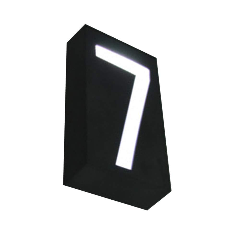 placa de matr/ícula de calle impermeable luz LED moderna para casa Placa de luz solar para n/úmero de casa o direcci/ón de Doolland Medium Number 2
