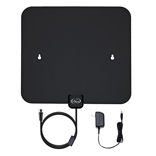 Vikeri Digital Amplified HDTV Antenna indoor with AC/DC Power Adapter - 50 Mile Range, Black/White