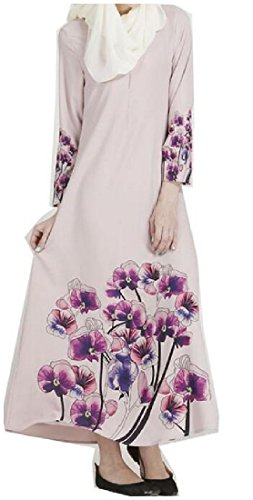 Dress Caftan Women Print Abaya Arabic Floral Purple Ethnic Long Muslim Coolred 7Zxq4wx