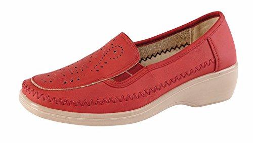 Flache Schuhe Slip Damen Wedge Müßiggänger On Komfortable Beiläufige Pumps Mädchen Damen Rot 6Zq5wvq