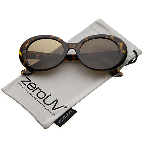 zeroUV - Large Clout Goggles Thick Oval Frame Sunglasses with Round Lens 53mm (Tortoise / - Brown Tortoise