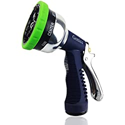 Gonicc Professional Garden Hose Nozzle Spray Nozzle, 9 Adjustable Watering Patterns, Metal Body & Grip, High Pressure - Suitable for Watering Lawn and Garden, Washing Dogs & Pets