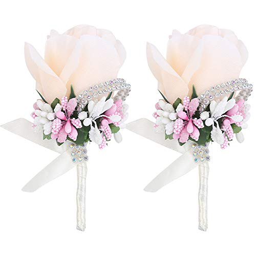 Febou Boutonniere 2PCS Wedding Boutonniere Handmade Rose Boutonniere Corsage with Pin and Clip for Groom Bridegroom Groomsman Perfect for Wedding, Prom, Party (2 Packs, Champagne)