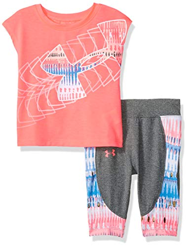 Under Armour Baby Girls Short Sleeve Tee and Capri Set, Brilliance, 18 Months (Under Armour Toddler Girls Pants)