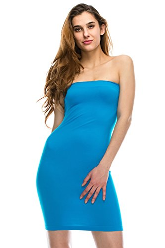 Kurve Strapless Stretchy Comfort Mini Sexy Tube Dress, UV Protective Fabric, Rated UPF 50+ (Made with Love in The USA) Turquoise