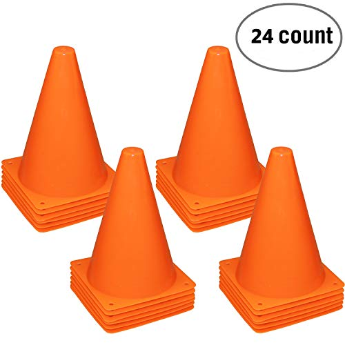 Fragraim 7.5-Inch Plastic Training Traffic Cones | Mini Agility Marker Cone for Kids | Safety Cones for Motorcycle, Themed Party, Skating, Soccer Basketball Football Drills - (Set of 24, Orange)
