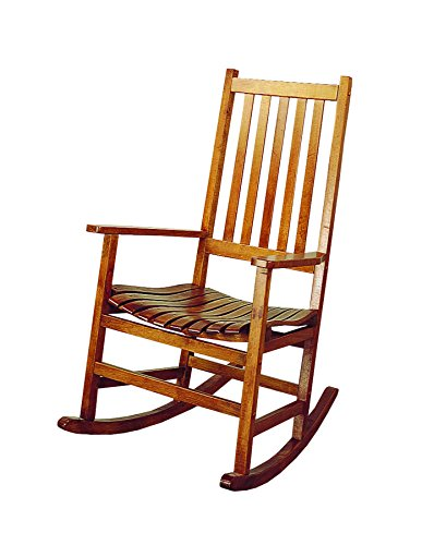 Coaster Southern Country Plantation Porch Rocker/Rocking Chair, Oak Wood Finish