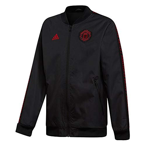 (adidas Kids Youth Manchester United Anthem Jacket Black/Red Small)