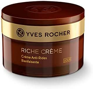 Yves Rocher Face Moisturizer Riche Crème Comforting Anti-wrinkle Day Cream with precious oils, for Mature Skin + Dry skin, 50 ml jar