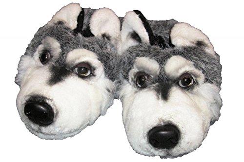 Plüsch Hausschuhe Hunde Wolf Tierhausschuhe, EU 45/46