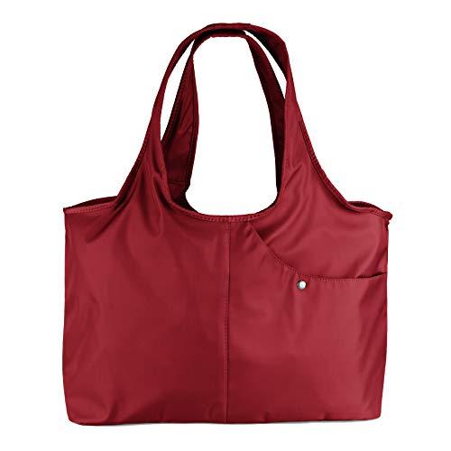 (ZOOEASS Women Fashion Large Tote Shoulder Handbag Waterproof Tote Bag Multi-function Nylon Travel Shoulder(Wine Red))