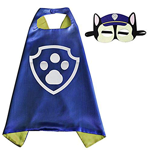 Whoopgifts Superhero Costumes Satin Cape with Felt Mask For Kids, 70cm x 70cm (Chase)