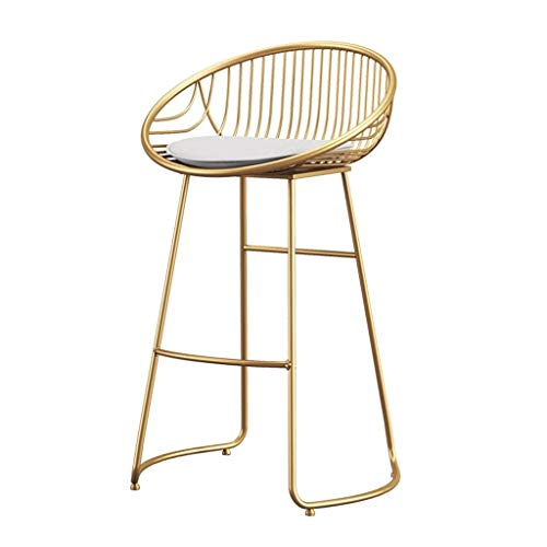 - LANN Bar Stools Chair Footrest High Stool with White Upholstered Dining Chairs As Stool for Kitchen Pub Breakfast Stool Seat Metal Legs, Max Load 200kg, Gold (Size : 43x45x65cm)