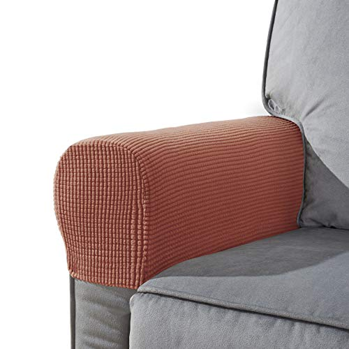 CHUN YI Set of 2 Stretch Polyester Sofa Armchair Armrest Covers Slipcovers Furniture Protector Spandex Fabric Jacquard Anti-Stain Washable Couch Arm Cover Slipcover (Armrest, ()