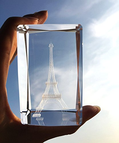 3D Eiffel Tower Paperweight(Laser Etched) in Crystal Glass Cube Birthday/Christmas Romantic Gifts(No Included LED Base)(3.2x2.1x2.1)