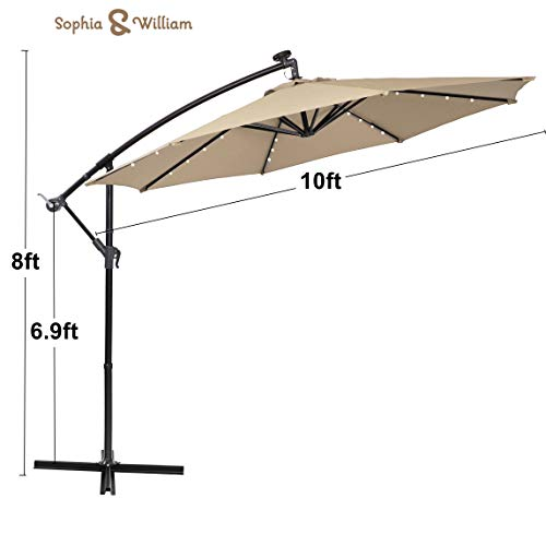 Sophia and William 10ft Patio Offset Umbrella Cantilever Outdoor Solar Lighted Umbrella with 32 PCS LED Lights, Cross Base and 8 Ribs Beige