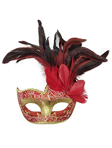 Women's Feather Masquerade Mask Venetian Halloween Mardi Gras Costumes Party Ball Prom Mask (Red) -