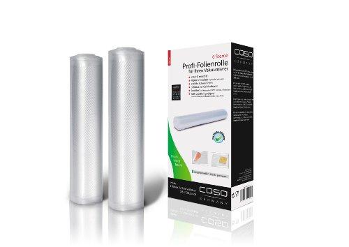 CASO Profi- Folienrollen 28x600 cm (1223) / 2 Rollen für alle Balken Vakuumierer geeignet / Kochfest - Mikrowellen geeignet - Sous Vide geeignet / stabile Schweißnaht
