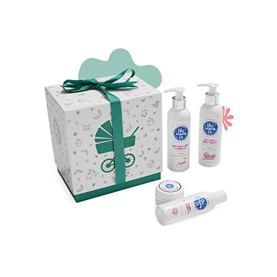 Baby Essentials with Ribbon Gift Box and Natural Baby Shampoo, Wash, Massage Oil and Diaper Rash Cream