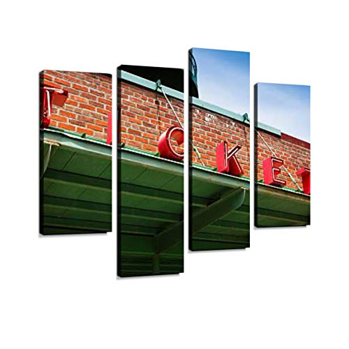 Stadium Ticket Window Canvas Wall Art Hanging Paintings Modern Artwork Abstract Picture Prints Home Decoration Gift Unique Designed Framed 4 Panel ()