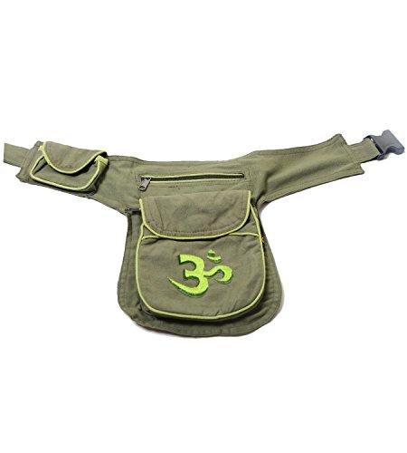 Kunst und Magie - Bolso al hombro de algodón para mujer ca. 28 x 18 x 4 cm verde militar