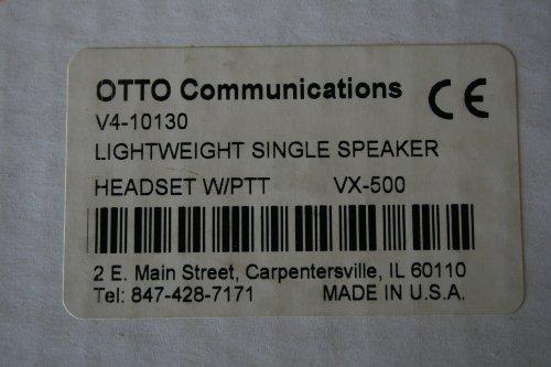 Otto Single (Otto Communications V4-10130 Lightweight Single Speaker Headset w/)