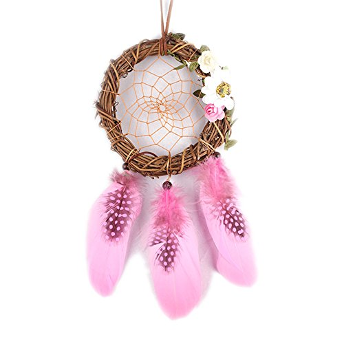 ESHOO Small Dream Catcher with Feathers, Handmade Dreamcacther, Good for Car, Wall Hanging Ornament, and Gift