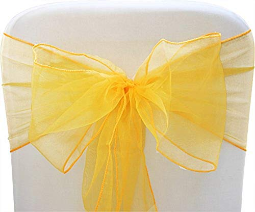 - SARVAM FASHION SF New Pack of 10 Chair Decorative Organza Sashes Bow Designed for Wedding Events Banquet Home Kitchen Decoration - (10, Yellow)