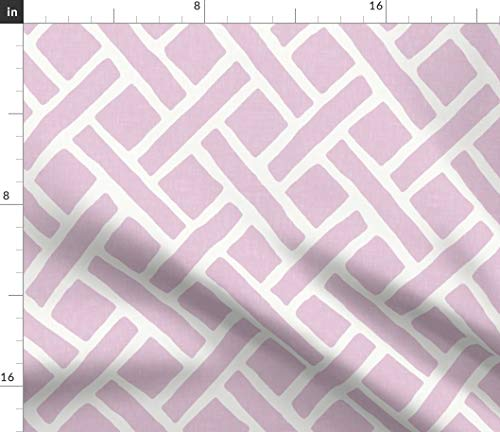 Trellis Fabric - Savanna in Lilac and White Pastel Geometric Grid Sparrowsong Linen Lattice Print on Fabric by The Yard - Sport Lycra for Swimwear Performance Leggings Apparel Fashion