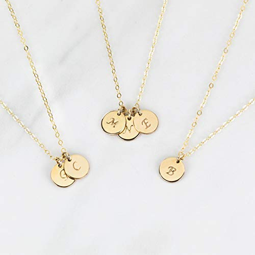 Initial Disk Necklace, Personalized Hand Stamped Monogram Charm, Custom Lengths in 14K Gold Fill, 14K Rose Gold Fill or Sterling Silver ()