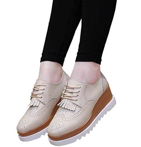 DADAWEN Women's Fashion Star Square-toe Lace-up Platform Wedge Oxford Shoes