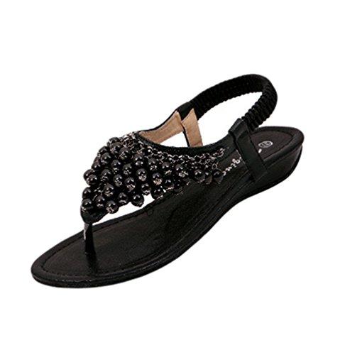 NiSeng Mujer T-Strap Sandalias Perla Con Cuentas Clip Toe Peep Toe Sandalias Bohemia Sandalias Negro