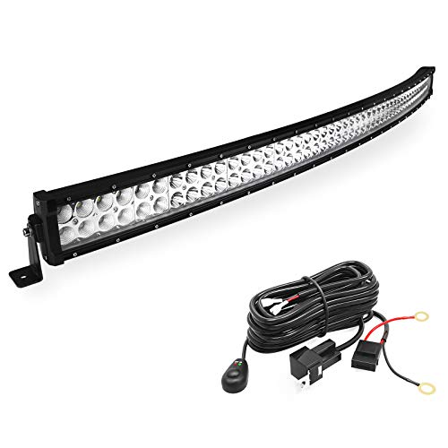 LED Light Bar YITAMOTOR 50 Inch Curved LED Bar Spot Flood Combo Offroad Light with Wiring Harness Compatible for Ford GMC Truck Jeep Cherokee Dodge Ram, 288W - 27,000 Lumens
