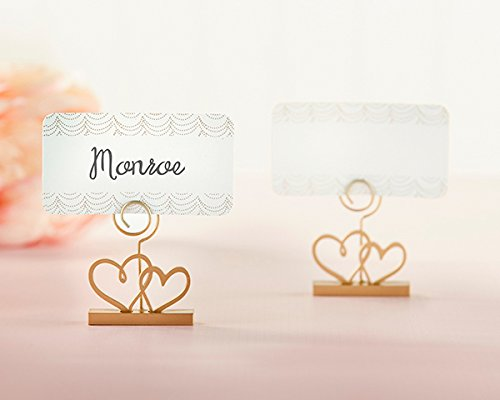 96 Gold Double Heart Place Card Holders by Kate Aspen