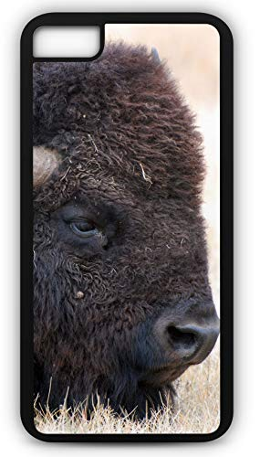 (iPhone 7 Plus 7+ Case Bison Buffalo American Head Animal Mammal Customizable by TYD Designs in Black Plastic Black Rubber Tough Case)