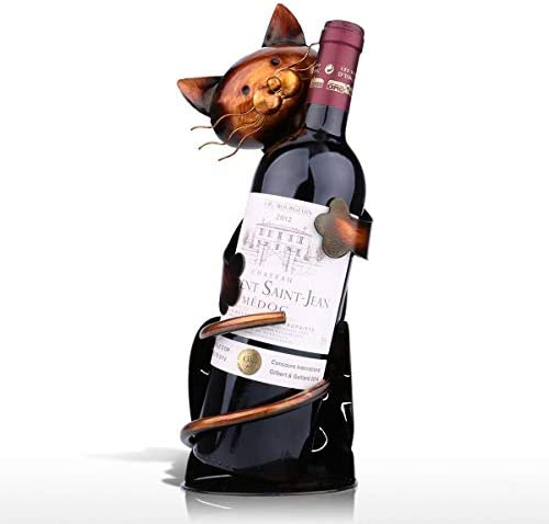 MINLIN Cat Shaped Wine Holder Wine Shelf Metal Figurine Practical Figurine Rack