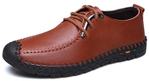 Idifu Hombres Cómodo Plano Low Top Lace Up Oxfords Zapatos Office Sneakers Marrón