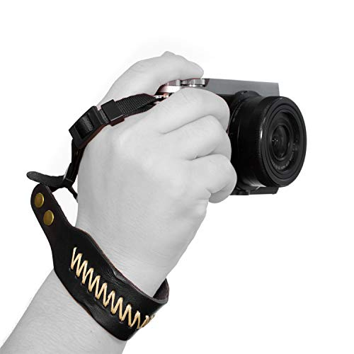 Megagear MG927 Leather Wrist StrapComfort Padding, Enhanced Hand Grip Stability and Security for All Cameras (SLR/DSLR) One Size Fits All, Black