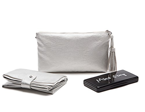 Diaper Changing Station by Miss Fong,Diaper Clutch with Cushioned Portable Changing Pad,Wipes Case and Wristlet(Silver) (Diaper Bag Wristlet)